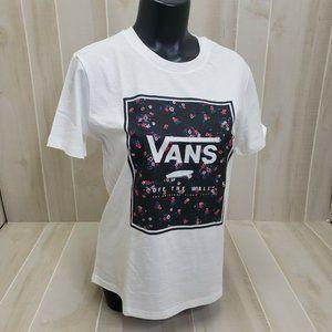 Vans Women's Floral Logo Tee NEW White S/S